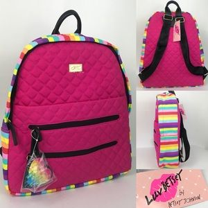 Luv Betsey Johnson Pink Rainbow Quilted Backpack